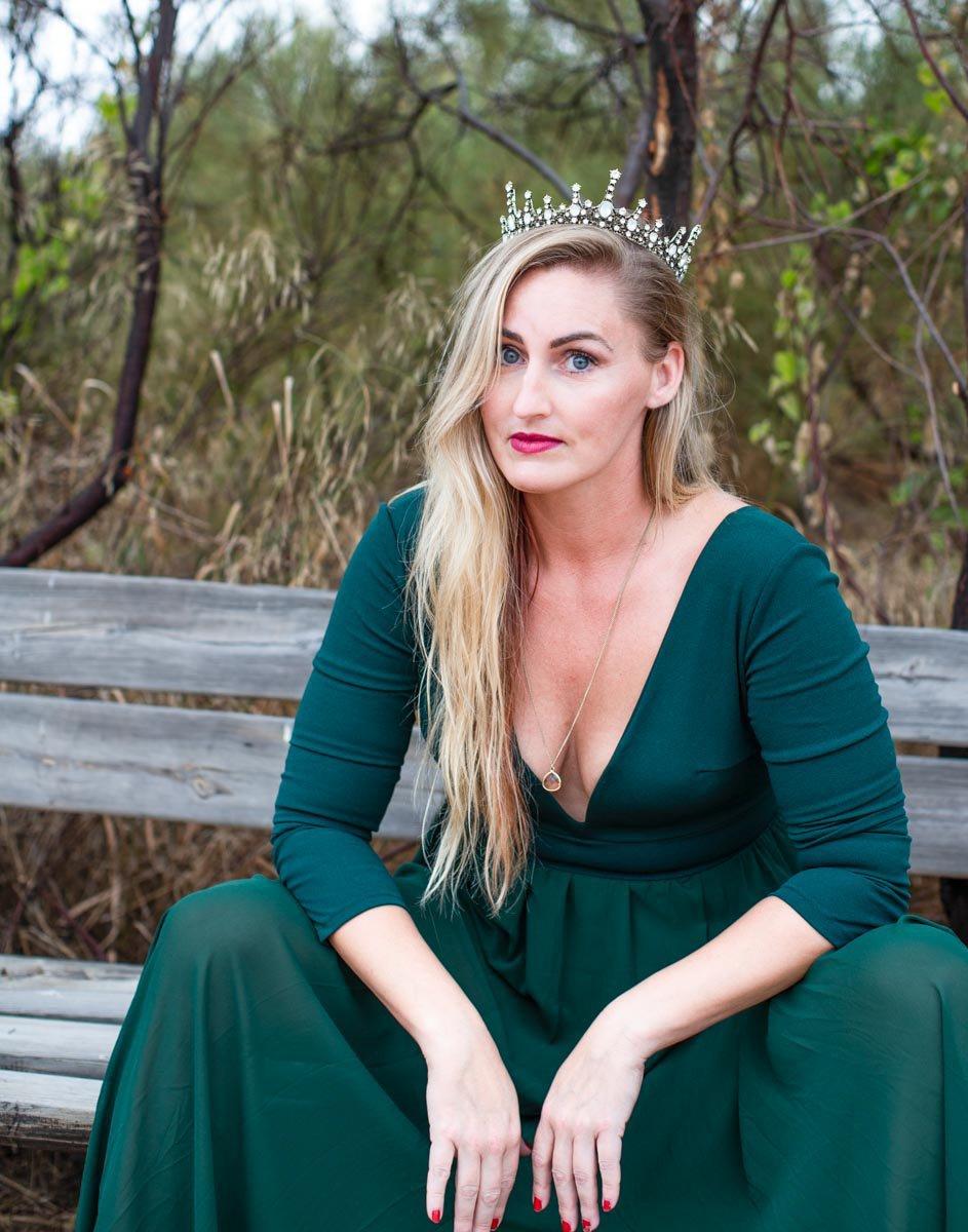 blond woman in green dress